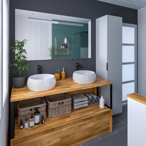 Rénovation d'une salle de bain. Un meuble sur mesure s'adapte à ce petit espace et permet d'accueillir une double vasque.