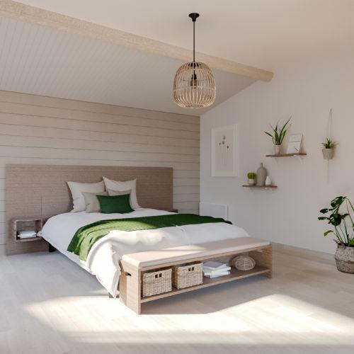 Décoration d'une chambre parentale. Les couleurs claires et les matériaux naturels utilisés créent une ambiance douce, lumineuse et reposante. Le petit plus : un pied de lit conçu sur-mesure.